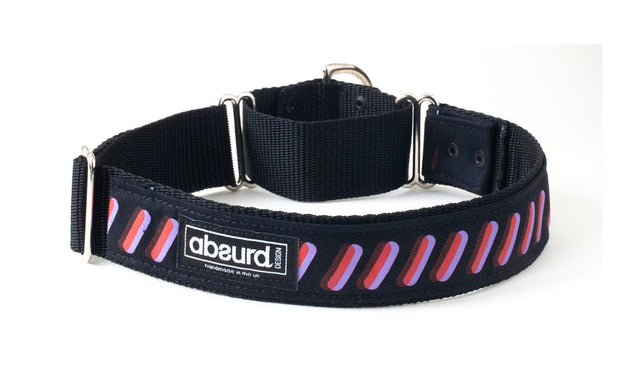 purple and orange bold design on martingale dog collar