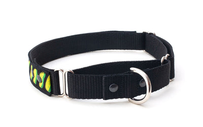 martingale dog collar showing large and small loop with D ring