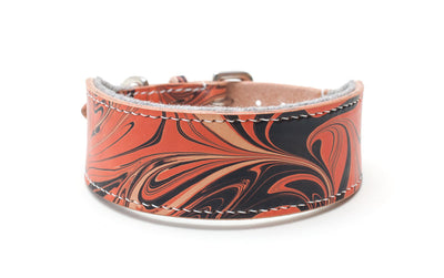 Style Bloody Mary, red and black leather Sighthound collar