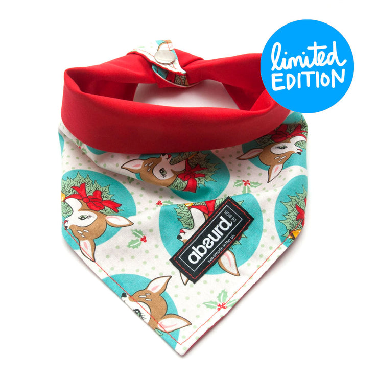 Dog Bandana: Reindeer Kitsch Blue