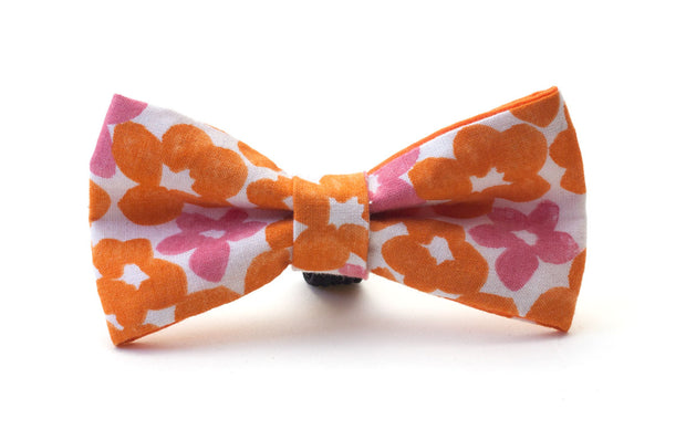 orange and pink floral fabric dog bow
