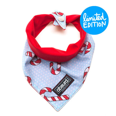 reversible bandana, candy cane pattern to red side