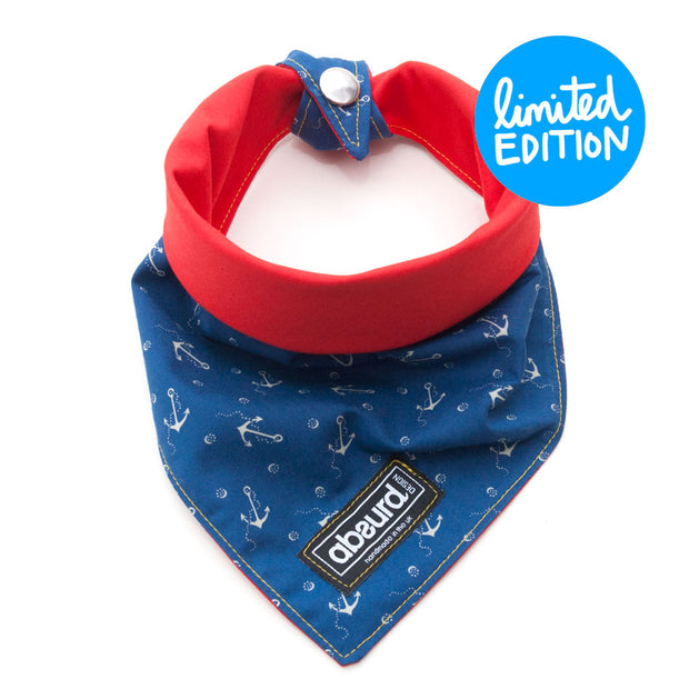 blue anchor pattern on cotton reversible dog bandana