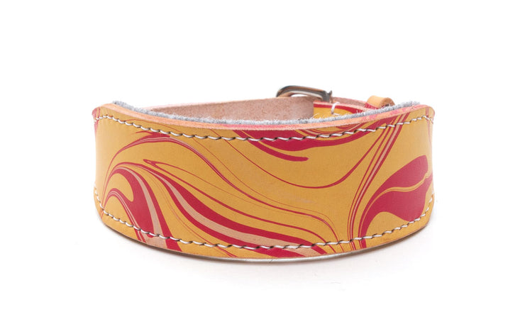 Style Firecracker, red and yellow leather Sighthound collar