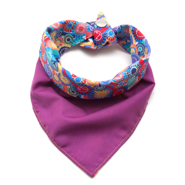 First Place reversible dog bandana showing fuchsia pink side