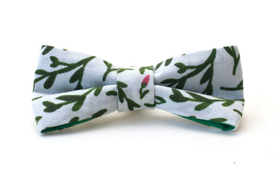 Handmade fabric dog bow, floral green and white