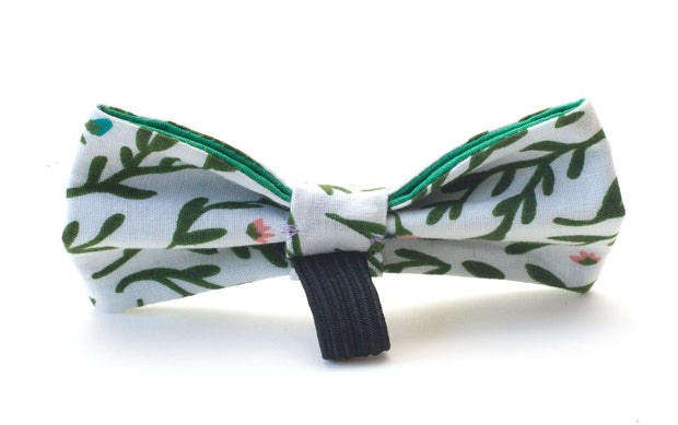 Flora fabric dog bow showing elastic loop