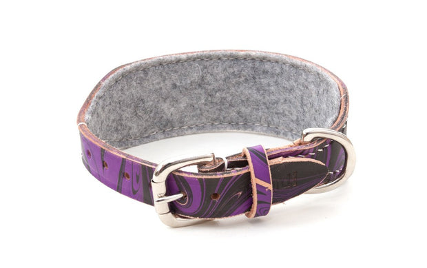 Leather hound collar showing buckle and grey felt lining
