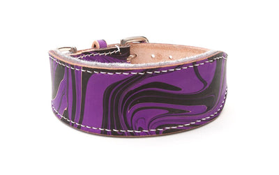 Style Gothic, purple and black leather Sighthound collar