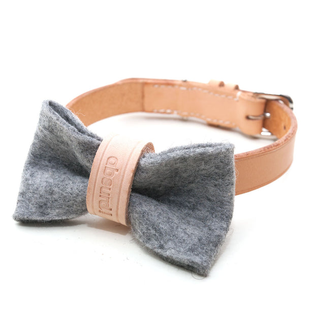 Wool Felt Dog Bow Tie: GREY