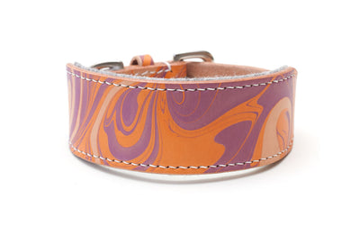 Style Groovy Baby, orange and purple leather Sighthound collar
