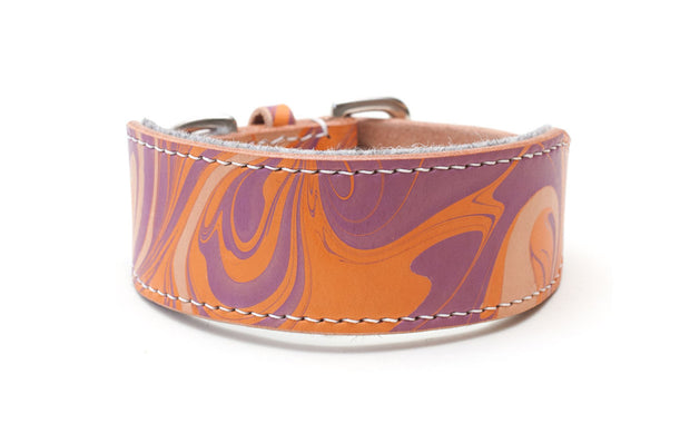 Groovy Baby orange and purple leather Sighthound collar