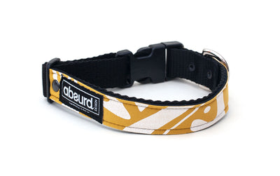 neoprene dog collar with funky mustard and white design