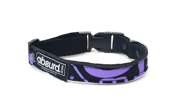 neoprene dog collar with cool purple and black design