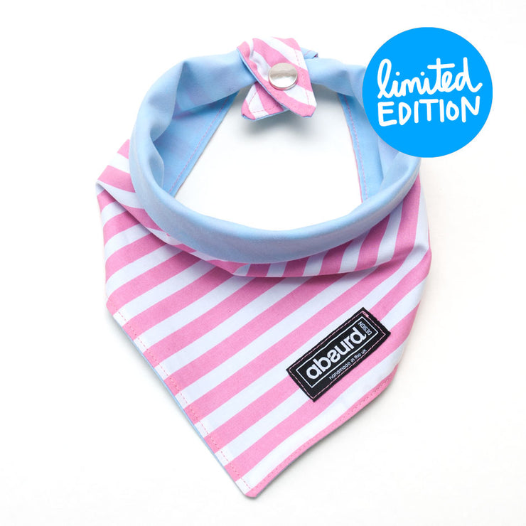 pink and white stripes on reversible fabric dog bandana