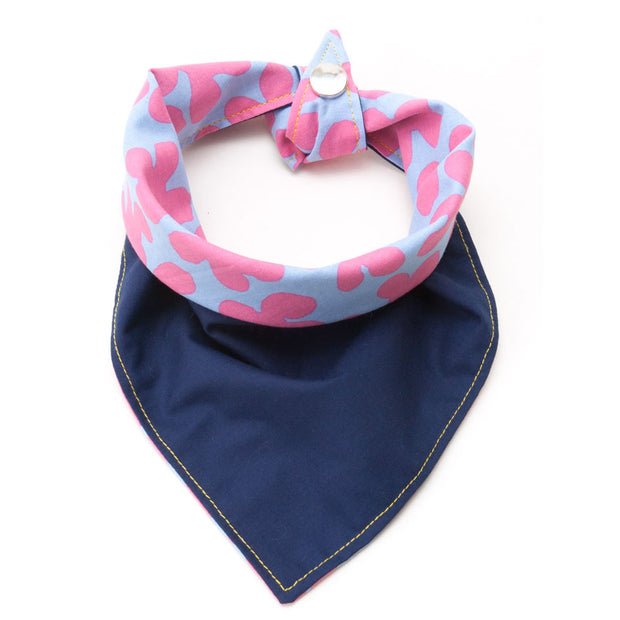 Jelly Belly reversible dog bandana showing navy side