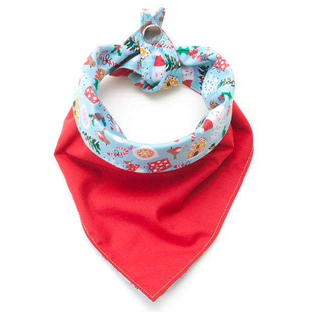 red side of Jolly Holly Days reversible dog bandana