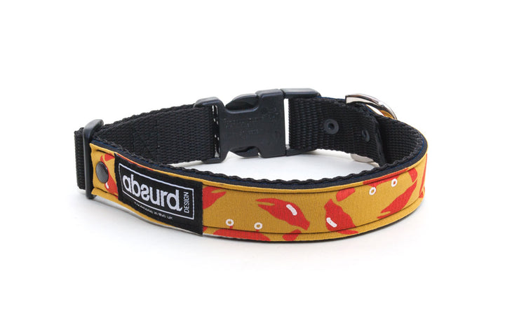 yellow neoprene dog collar with fun orange crab design