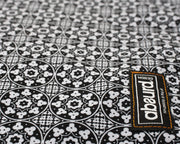 close up of black and white pattern of Lisbon bandana fabric