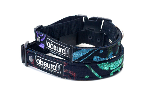 the colours of two Haida Gwaii Retro neoprene dog collars