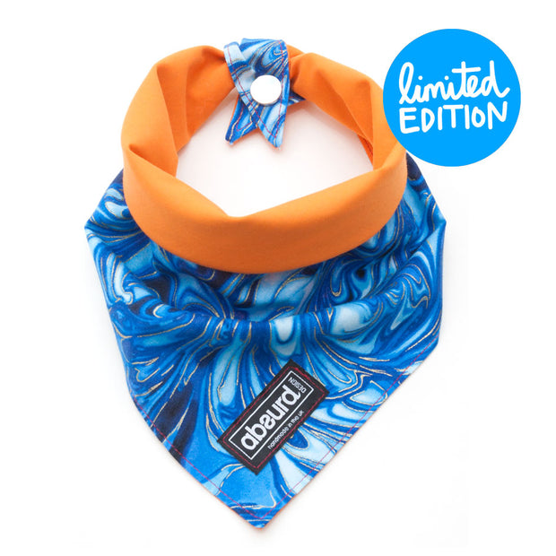 Reversible cotton fabric dog bandana blue and orange
