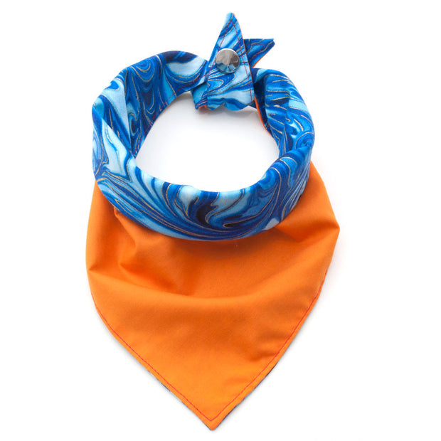 Oh Buoy reversible dog neckerchief showing orange side