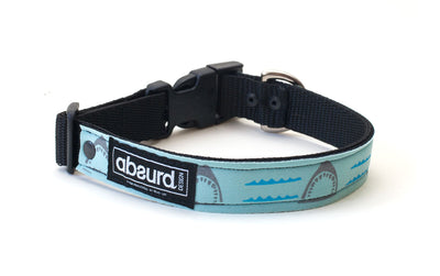 Blue neoprene dog collar with grey shark design