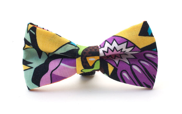 colourful dog dickie bow in purple, yellow and green fabric