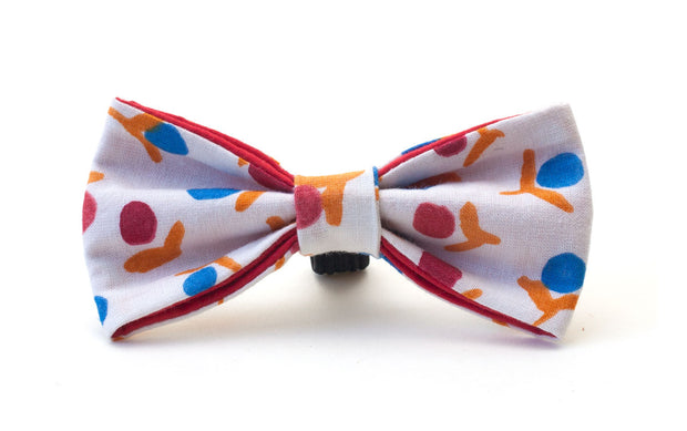 fabric dog dickie bow, white with red and blue pattern