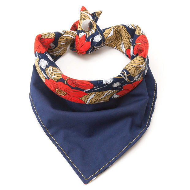The Rambler reversible dog bandana showing navy side