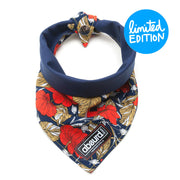 Fun reversible dog bandana, red and navy floral pattern