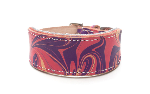 Tooth Fairy pink and purple leather Sighthound collar