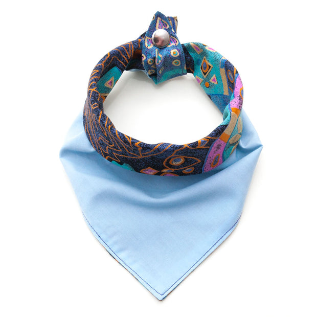 pale blue side of reversible Arabian Nights dog bandana