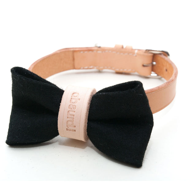 Wool Felt Dog Bow Tie: BLACK