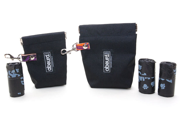 double poop bag holder and dog treat bag in black