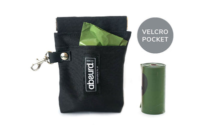 Poop Bag Holder & Treat Bag with Pocket : Black