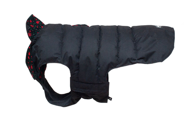 waterproof dog coat showing black reversible side