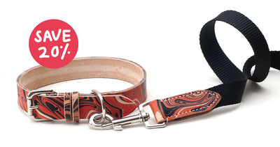 red and black patterned leather dog collar/lead save 20% on set
