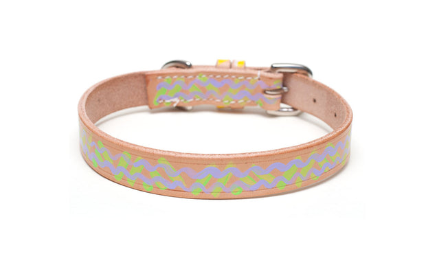 Mojito painted leather dog collar, green and violet pattern