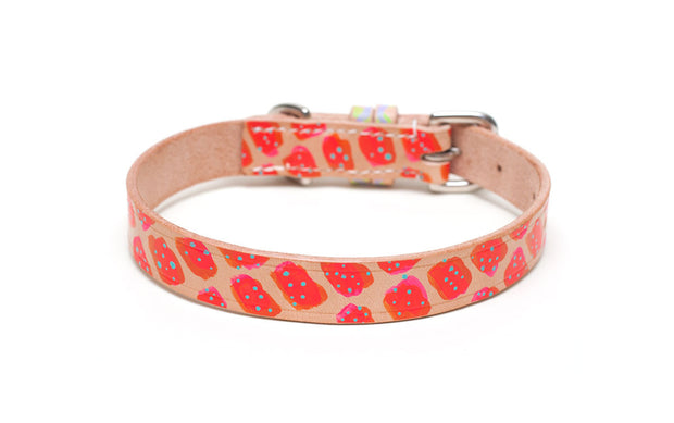 Cosmopolitan painted leather dog collar red and orange design