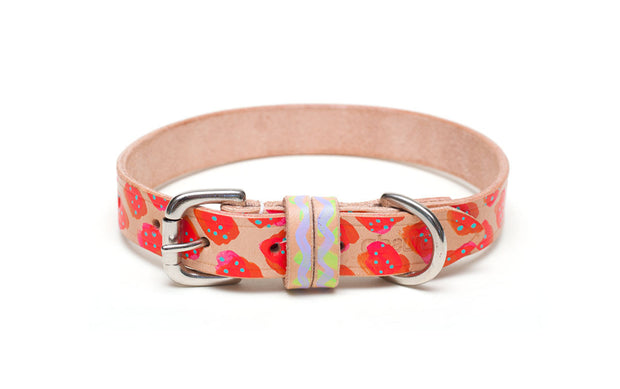 Cosmopolitan painted red leather dog collar with buckle