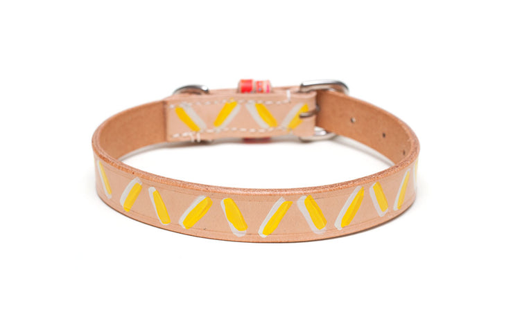 Dirty Banana dog collar showing yellow and white design