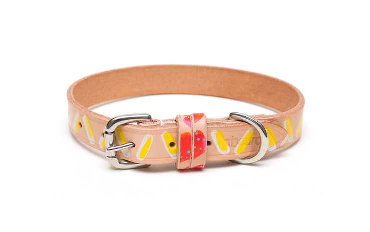 Dirty Banana painted leather dog collar with buckle + D ring