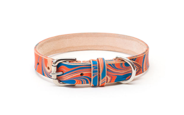 Britannia Blue and Red Leather Dog Collar