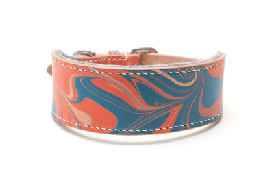 Style Britannia, red and blue leather Sighthound collar