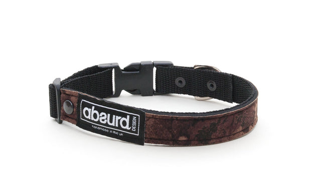 Brown and black camo soft neoprene dog collar