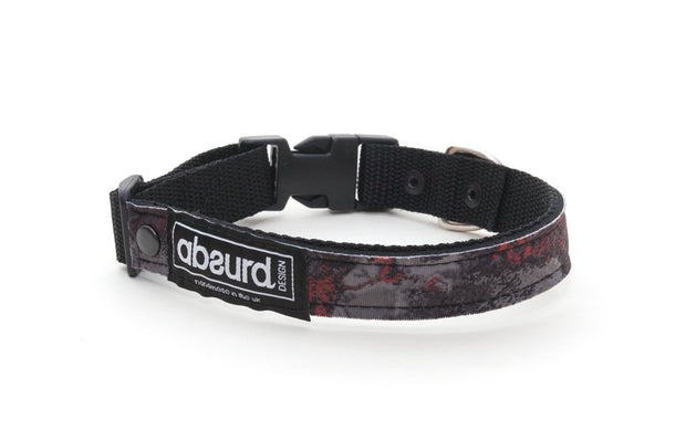 Grey and red camo soft neoprene dog collar
