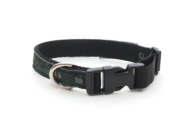 Woodland upcycled neoprene collar with side release buckle