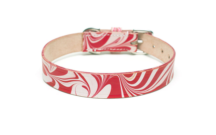 Leather Dog Collar: CandyCane