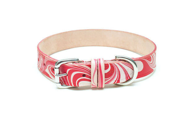 Leather Collar: Candy Cane